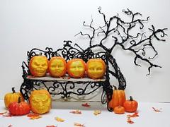 Jack O' Lanterns (J. Nicholai) Tags: pumpkins orange jackolantern carved spooky scary halloween handmade handcrafted bench 3dpen miniature dollhouse polymerclay kato ooak oneofakind fall autumn dcor creepy ghoul