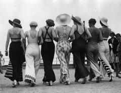 Ladies in Beach Pajamas (kevin63) Tags: lightner photo ladies back beach 1930s group hats elegant old vintage antique
