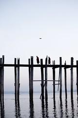The Omen~ Myanmar (~mimo~) Tags: documentary ubein lookup water sunrise silhouette bridge bird monk asia myanmar