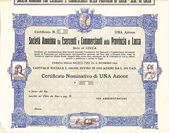 ESERCENTI E COMMERCIANTI DELLA PROV. DI LUCCA SOC. AN. (scripofilia) Tags: 1922 azioni esercentiecommercianti lucca provincia provinciadilucca