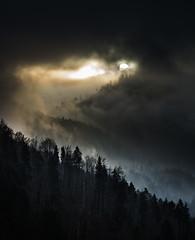 Die Sonne schaut kurz vorbei... (louhma) Tags: sonne nebel wolken berge wald wlder natur wood silhouette explored explore