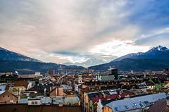 Innsbruck dalla torre civica (MrNikoHyde) Tags: sun sky clouds travel trip tourism sea reflex nikonitalia nikon coulors allaperto architettura campo paesaggio calma skyline nuvola cielo montagna innsbruck mountain