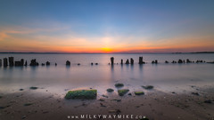 Hint Of Lime (Mike Ver Sprill - Milky Way Mike) Tags: hintoflime sandy hook new jersey bay sunset sun rocks green moss seaweed sea weed pilings long exposure motion blur water silky smooth michael ver sprill mike versprill hike with travel explore east coast seascape landscape beautiful colorful