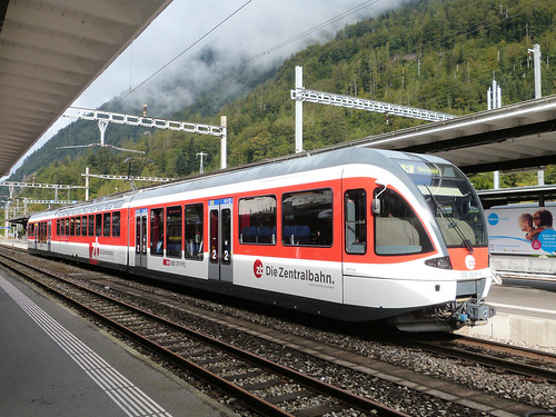 Die Zentralbahn, Switzerland - ABe 130 No. 008-6 built in 2004 waits at Interlaken Ost with the 09.33 to Meiringen on the 17th September 2016