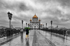 One more rainy pic (Varvara_R) Tags: street city blackandwhite color art church wet monochrome rain weather ed evening cathedral russia moscow center historical nikkor 2470mm f28g youmademyday niksoftware nikond800 truthandillusion