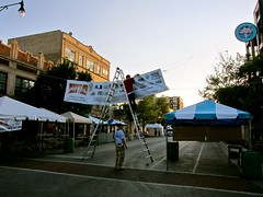 A Summer Night, Rogers Park (rwchicago) Tags: carnival summer chicago evening tents workers banner august tent neighborhood ladder streetfair artfair rogerspark chicagoist hopperesque