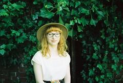 FH000020 (Salt Deep) Tags: trees summer woman sunlight film hat fashion garden kodak brooch young blogger pale foliage serene sainsburys chic demure maxiskirt konicaminoltadynax3000i