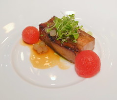 Herb Fed Pork Belly, Malt, Onion, Watermelon, Thyme Oil, Pork Jus  //// (slowpoke_taiwan) Tags: city female french cuisine restaurant fine taiwan watermelon chef dining taichung onion  fed alvaro herb porkbelly chen finedining   malt palacios  frenchrestaurant no24   relais  frenchcuisine   alvaropalacios  taichungcity    femalechef  lemot    lemout  thymeoil porkjus    lanshu lanshuchen lemotrestaurant 59 59 59 relaischteaux chteaux  asias50bestrestaurants theveuveclicquotasiasbestfemalechef2014 50  2014 alvaropalacioswinedinner