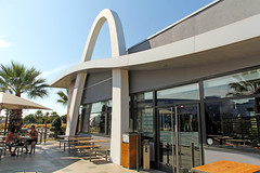 McDonald's Odysseum - Montpellier (France) (Meteorry) Tags: city morning urban food france june modern vintage restaurant europe terrace fastfood terrasse arches montpellier retro mcdonalds palmtrees storefront drivethru bigmac ville palmiers goldenarches matin languedocroussillon 2014 hrault mcdrive meteorry automac odysseum montpel placedelondres aquariummarenostrum monspessulgnus