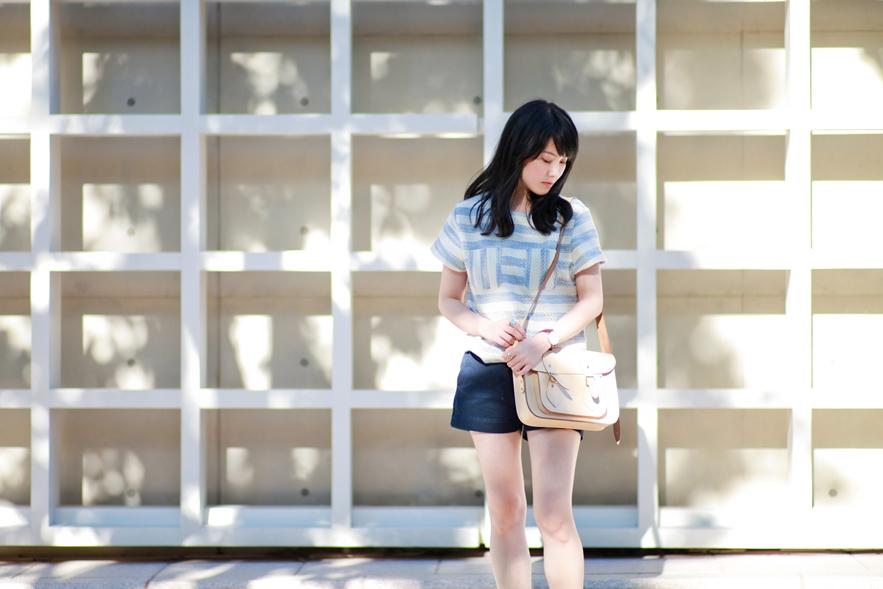 dahlia-stripe-top-cambridge-satchel-uniqlo-shorts-9