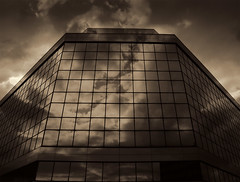It's my act, it's my calling, I explained exactly the falling (Jersey JJ) Tags: sky bw reflection tower clouds office space now visualart merritt on