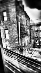 Italian hovel. (Carrots-Gilly) Tags: old railroad blackandwhite chicago brick train noir traintracks monochromatic charcoal