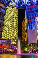 221/365. Stadtlichter (he-sk) Tags: city berlin water fountain night germany lights potsdamerplatz day221 3652014 365the2014edition 09082014