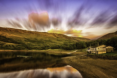 Sail Club LE (Paul Feeley Photography) Tags: longexposure sunset water clouds landscape hill reservoir hills boathouse mov movingclouds ndfilter dovestone landscapephotography longexposurephotography dovestonesreservoir hoyaprondfilter