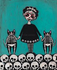 Frida y Gatos 8 (Kilkennycat) Tags: original art halloween cat painting dayofthedead acrylic folkart whimsical kilkennycat ryanconners catfolkart skelliecats