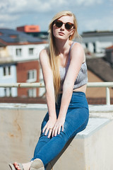Last Days of Summer (Louisa H) Tags: portrait woman sun rooftop girl model availablelight longhair sunny blonde freckles cari freckled croptop