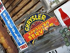 Roadside treasure (Dave* Seven One) Tags: signs art broken junk rust treasure rusty coke used cocacola chrysler roadside scrap northga herculestires samsunggalaxys4