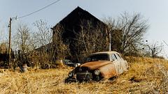 """The old Nash"" (D A Baker) Tags: old brown abandoned dan car barn vintage landscape landscapes automobile baker decay farm daniel indiana da rusting nash airflyte danielbaker danielabaker"