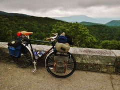My Bike Above it All (Capricorn Bicycles) Tags: blue camping trees mountains nature bicycle forest mt tour asheville north ridge mount parkway carolina mitchell boone forests touring cike