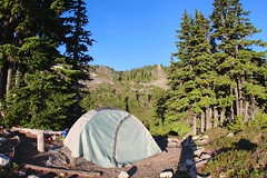 Lunch Lake campsite in the morning (daveynin) Tags: blue sky nps tent clear trail olympic campsite lunchlake highdivide deaftalent deafoutsidetalent deafoutdoortalent