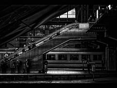 central station (j.p.yef) Tags: people bw train germany dark darkness hamburg platform railway stairway hauptbahnhof sw inside centralstation yef peterfey jpyef