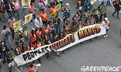 Lead Banner in People's Climate March (Greenpeace USA 2014) Tags: usa newyork march gas oil coal climate activists globalwarming fossilfuels