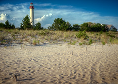 Cape May Lighthouse (mhoffman1) Tags: lighthouse beach newjersey sand unitedstates nj capemay posts beacon hdr conical partlycloudy capemaypointstatepark photomatix colorefexpro a7r