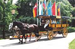 Germany.  June 12th.-20th. 1999 (Cynthia of Harborough) Tags: 1999 animals flags horses lampposts flowers people transport trees