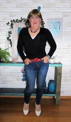 Black top & wife,s jeans (Trixy Deans) Tags: crossdresser cd cute crossdressing crossdress classy corset jeans tightjeans tgirl tv transvestite transgendered transsexual trixydeans transvesite tgirls trixy xdresser sexy sexytransvestite sexyheels sexylegs hot highheels