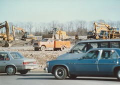 BUILDING A NEW ROAD IN 1990 (richie 59) Tags: ulstercountyny ulstercounty newyorkstate newyork townofulsterny townofulster unitedstates fordmotorcompany winter generalmotors nystate richie59 outside constructionarea constructionsite backhoe oldphotograph olddays oldpicture oldphoto 1990 dec311990 dec1990 photoscan america americancars uscars ustruck 1990s automobiles autos cars truck backhoes 35mm film35 mmfilm photography photograph hudsonvalley midhudsonvalley midhudson nys ny us usa rocks graval dirt trees fordtruck orangetruck 4x4 ford4x4 buick gm gmcars