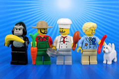 Celebrating World Food Day (Lesgo LEGO Foto!) Tags: lego minifig minifigs minifigure minifigures collectible collectable legophotography omg toy toys legography fun love cute coolminifig collectibleminifigures collectableminifigure worldfoodday world food day series16 series 16 dogshowwinner dog drumstick sausage carrot banana gorillasuitguy gorilla suit guy farmer chef cook pan