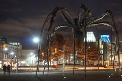 Maman's night appeal (beyondhue) Tags: spider maman public art sculpture sussex night national gallery beyondhue ottawa ontario dark sky us embassy long exposure car trail light louise bourgeois