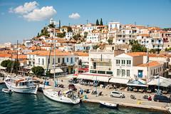 Hydra - Harbourside Houses & Shops (Le Monde1) Tags: greece island hydra port coast monastery greek lemonde1 nikon d800e saronicislands aegean sea town harbourside houses italianate clock bell towers