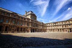 The Louvre Courtyard in Paris, France (` Toshio ') Tags: toshio paris france louvre museum museedulouvre architecture palace building chateau clouds courtyard europe european europeanunion fujixe2 xe2 history
