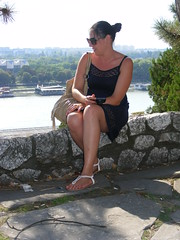 Nina at Kalemegdan Fortress Belgrade Serbia, Summer 2016 (sean and nina) Tags: nina kalemegdan fort fortress belgrade geograd serbia srbija balkans serb tan tanned bare skin shoulders neck throat arms legs feet blue dress summer september 2016 face brown eyes sun sunglasses pink lips beauty beautiful gorgeous stunning cute female woman girl girlfriend fiancee married wife happy vacation holiday people persons candid public brunette
