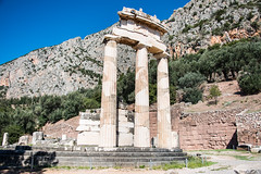 Delphi - Tholos of Temple of Athena Pronaea Rebuilt Columns 4 (Le Monde1) Tags: greece delphi greek sanctuary athena lemonde1 nikon d800e unesco worldheritagesite archaeological site roman ruins gods tholos templeofathena pronaea fluted columns