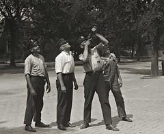 Men of Engine Co. No. 8 firing a string to the roof top ca1922 LOC31330u (SSAVE w/ over 6.5 MILLION views THX) Tags: washingtondc dcfd enginecompanyno8 firetraining 1922