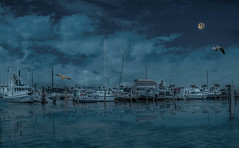 The Blue Hour (Jims_photos) Tags: inglesidetexas water texas topazlabssoftware topazlabs topazsoftware texascoast yacht outdoor outside ocean adobelightroom adobephotoshop shadows sailboats sailboat seagulls docks fishingboat jimallen lightroom cloudy clouds coastalscene boats nopeople nikon7100 nightphotos nightshot nightimages morninglight moon