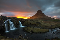 Mount Kirkjufell at Sunset (Brian Krouskie) Tags: kirkjufell kirkjufellfoss sunset mountain waterfall river clouds landscape outdoor iceland snfellsnes peninsula longexposure nikond600 nikon1735f28