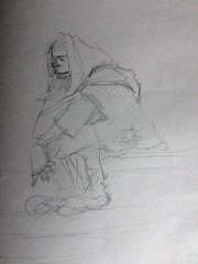 Foole (Scruffy Mynxbane) Tags: rennaissance fashion hood cloak foole jester peasant