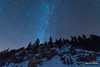 Winter Solstice Night (kevin-palmer) Tags: bighornmountains bighornnationalforest wyoming nikond750 tokina1628mmf28 astronomy astrophotography night sky stars starry clear blue dark winter december solstice pine trees highway14 snow rocky outcrop andromeda astrometrydotnet:id=nova1869382 astrometrydotnet:status=failed