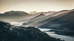 Queenstown, New Zealand (shotbymaguire) Tags: remarkables new zealand sunset sun burst ray light moody nikon dark d3300 queenstown canterbury view city south island