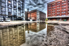 Stormy Weather, Stormy Weather (KC Mike D.) Tags: reflections hdr water puddle bottoms west buildings architecture