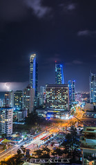 City Strike (C.R Images) Tags: lightning storm thunder queensland landscape night dark chaos city lights cityscape glow cloudy rain ocean bolt australia weather