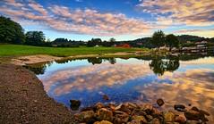Summer memory, Lindy - Norway (Vest der ute) Tags: g7x norway rogaland ryksund seascape sea landscape reflections mirror sky clouds earlymorning trees rocks beach fav25 fav200