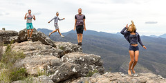 Jump (grantg59@xtra.co.nz) Tags: group jump fun rocks mountains girl guys outdoor holiday