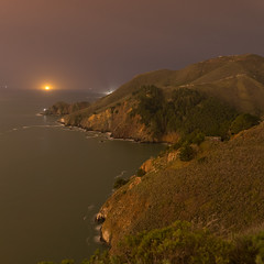 The Marin Headlands at Night, seen from Battery Spencer (fksr) Tags: marinheadlands batteryspencer goldengate pacificocean night artificiallight landscape marincounty california overcast