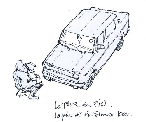 Paysage-paysages (gerard michel) Tags: france simca lapin sketch croquis auto car