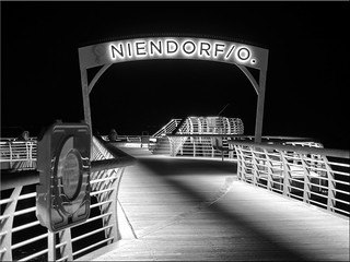 The pier of Niendorf at the Baltic Sea at night