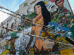 Mural painting with barbed wire in Berlin, Germany (Phototravelography) Tags: berlin barbedwire graffiti mural germany painting art security colourful